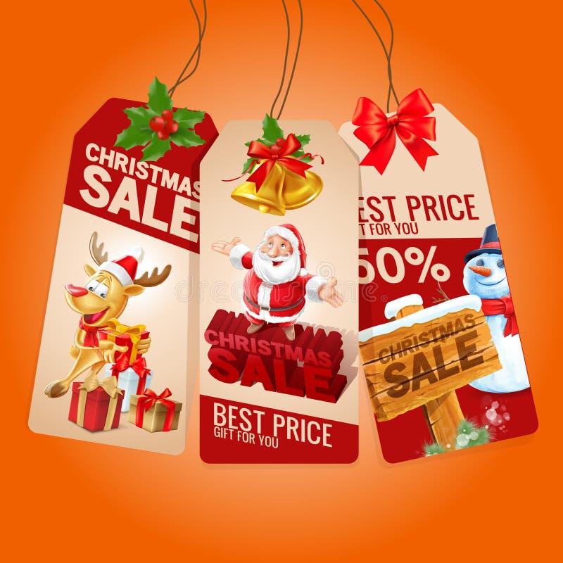 Natale di vendita di etichetta illustrazione di stock