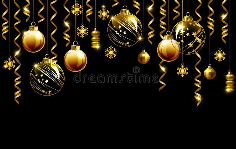 Natale di vetro che uguaglia le palle su un fondo nero illustrazione vettoriale