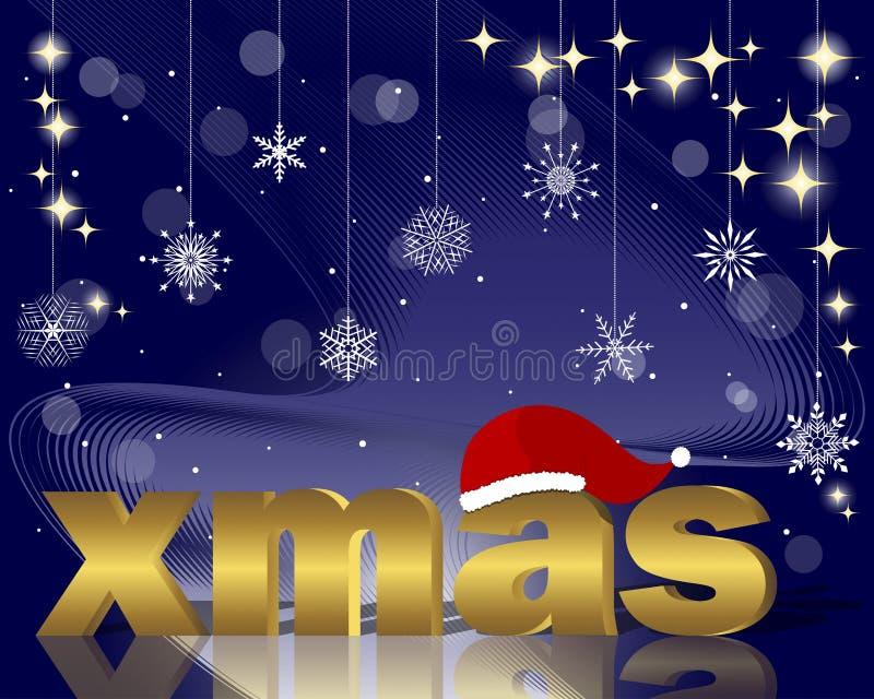 Natale dorato con il cappello della Santa. illustrazione di stock