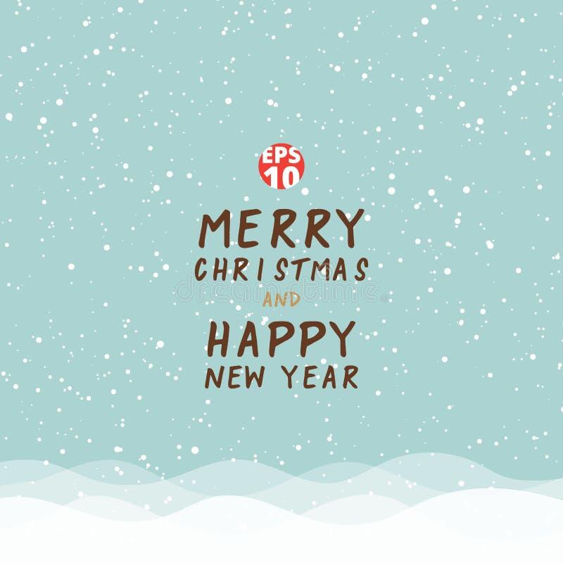 Natale e buon anno della cartolina d'auguri sui wi blu del fondo illustrazione vettoriale