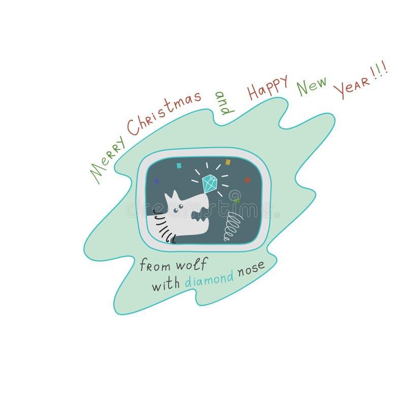 """Natale e buon anno """"Merry dal  di Wolf†fotografia stock"""
