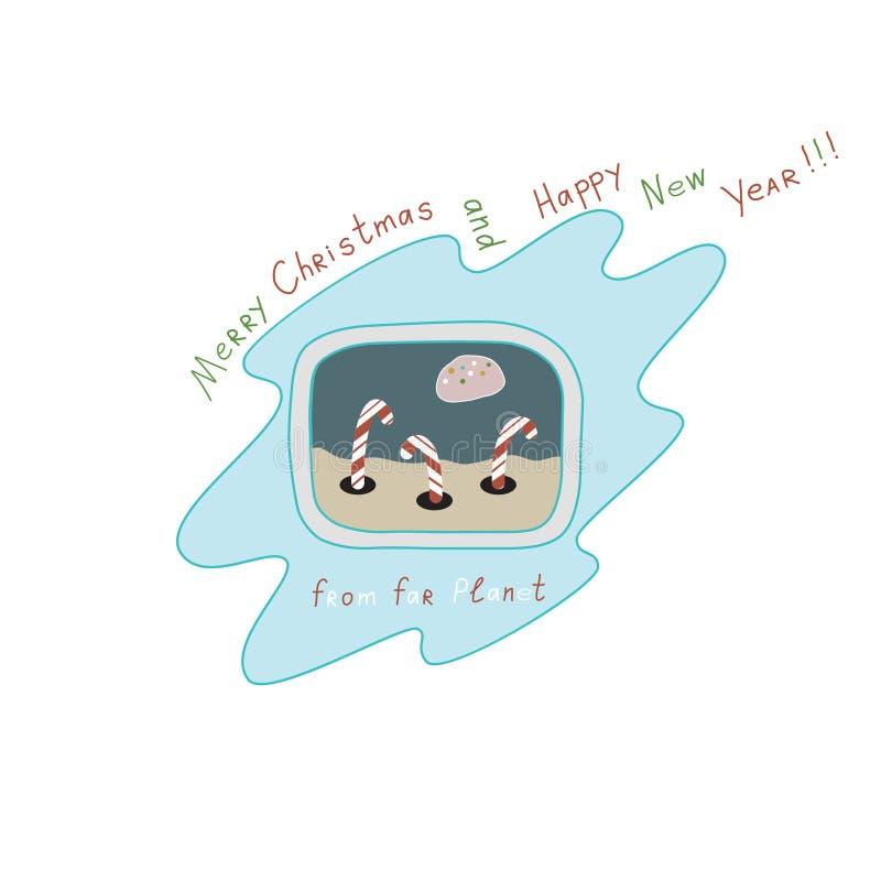 """Natale e buon anno """"Merry dal  lontano di Planet†fotografia stock libera da diritti"""