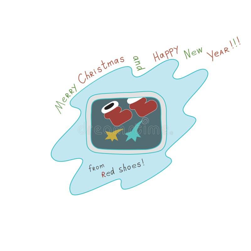 """Natale e buon anno """"Merry dal  rosso di Shoes†immagini stock libere da diritti"""