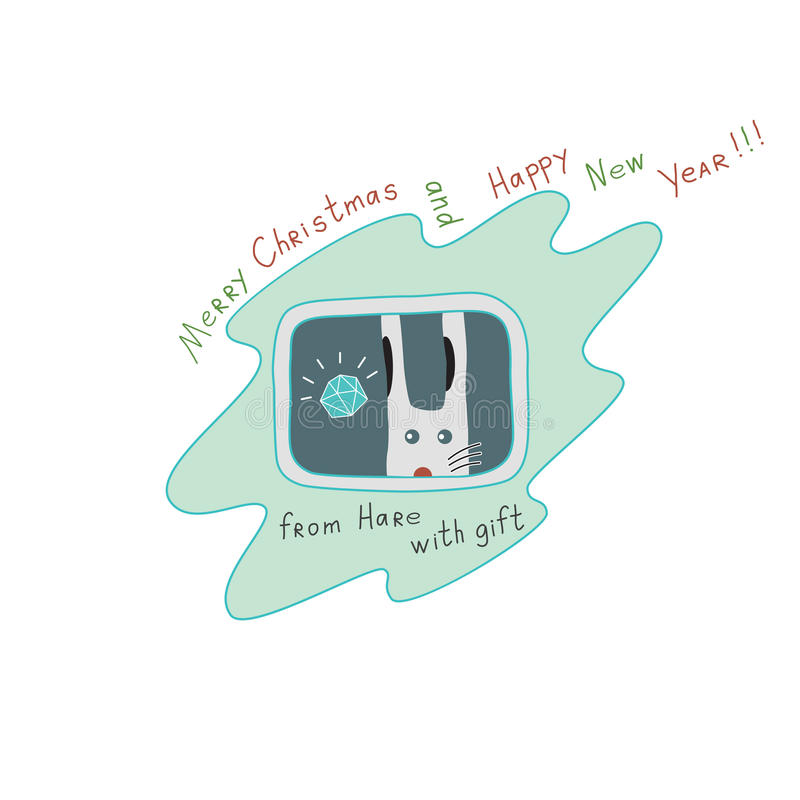 """Natale e buon anno """"Merry dalla lepre con il  di Gift†fotografia stock libera da diritti"""