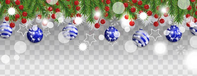 Natale e confine del buon anno o ghirlanda dei rami dell'albero di Natale con le palle blu e delle bacche dell'agrifoglio su tras royalty illustrazione gratis