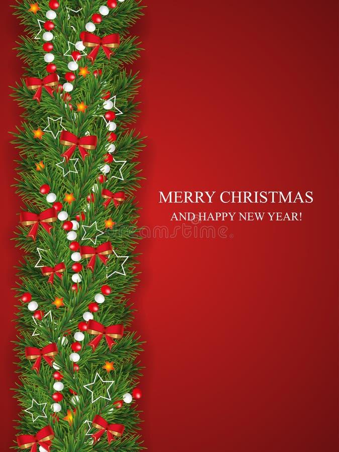 Natale e ghirlanda del buon anno e confine dei rami di sguardo realistici dell'albero di Natale decorati con gli archi rossi, ste illustrazione vettoriale