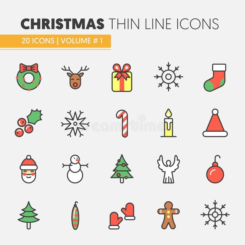 Natale e linea sottile icone del buon anno 2017 messe con Santa Claus Reindeer e l'albero di Natale illustrazione vettoriale