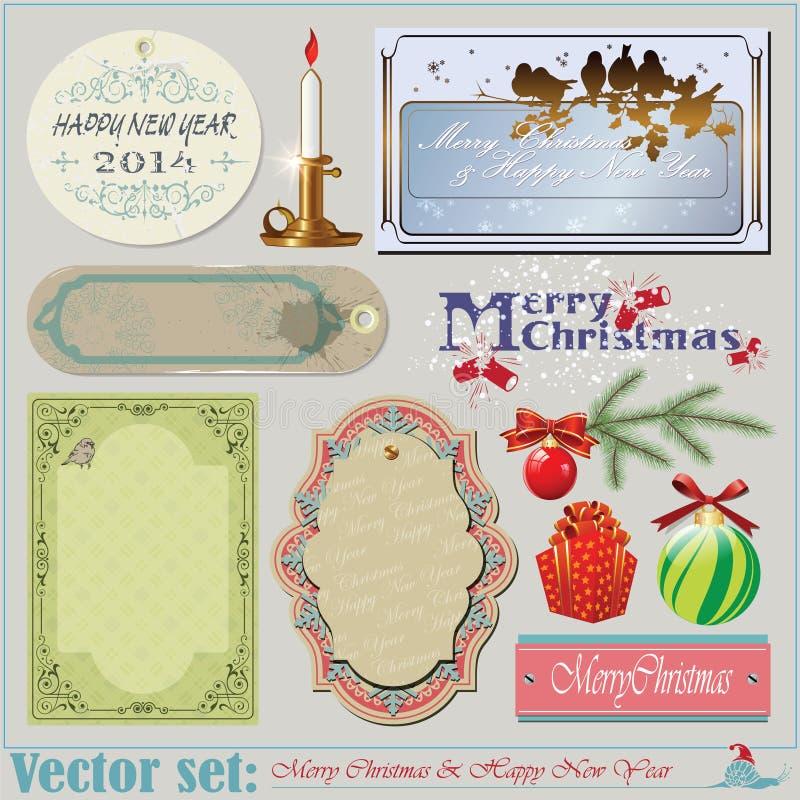 Natale e nuovi anni di iscrizioni, oggetti e sedere illustrazione di stock