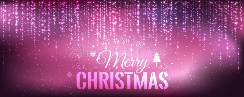 Natale e nuovo anno tipografici su fondo porpora con l'accensione, luce, stelle royalty illustrazione gratis