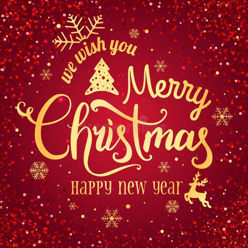 Natale e nuovo anno tipografici su fondo rosso con il fuoco d'artificio, luce, stelle Effetti della luce d'ardore di scintillio illustrazione di stock