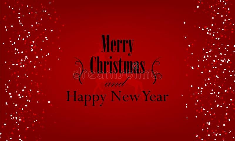 Natale e nuovo anno tipografici su fondo rosso con struttura di scintillio dell'oro illustrazione di stock