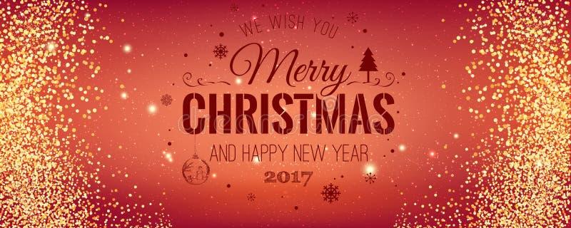 Natale e nuovo anno tipografici su fondo rosso con struttura di scintillio dell'oro Illustrazione di vettore per fondo dorato illustrazione vettoriale
