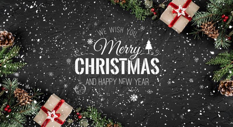Natale e nuovo anno tipografici sui withChristmas del fondo di festa e nuovo anno tipografico sul fondo di festa con abete illustrazione vettoriale