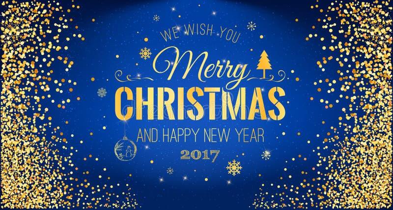 Natale 2017 e nuovo anno tipografico su fondo blu con struttura di scintillio dell'oro Illustrazione di vettore per fondo dorato illustrazione vettoriale
