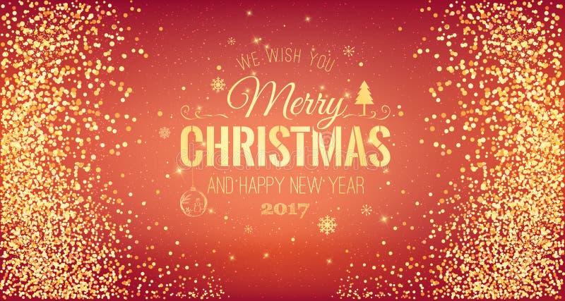 Natale 2017 e nuovo anno tipografico su fondo rosso con il fuoco d'artificio dell'oro Scheda di natale Vettore illustrazione di stock