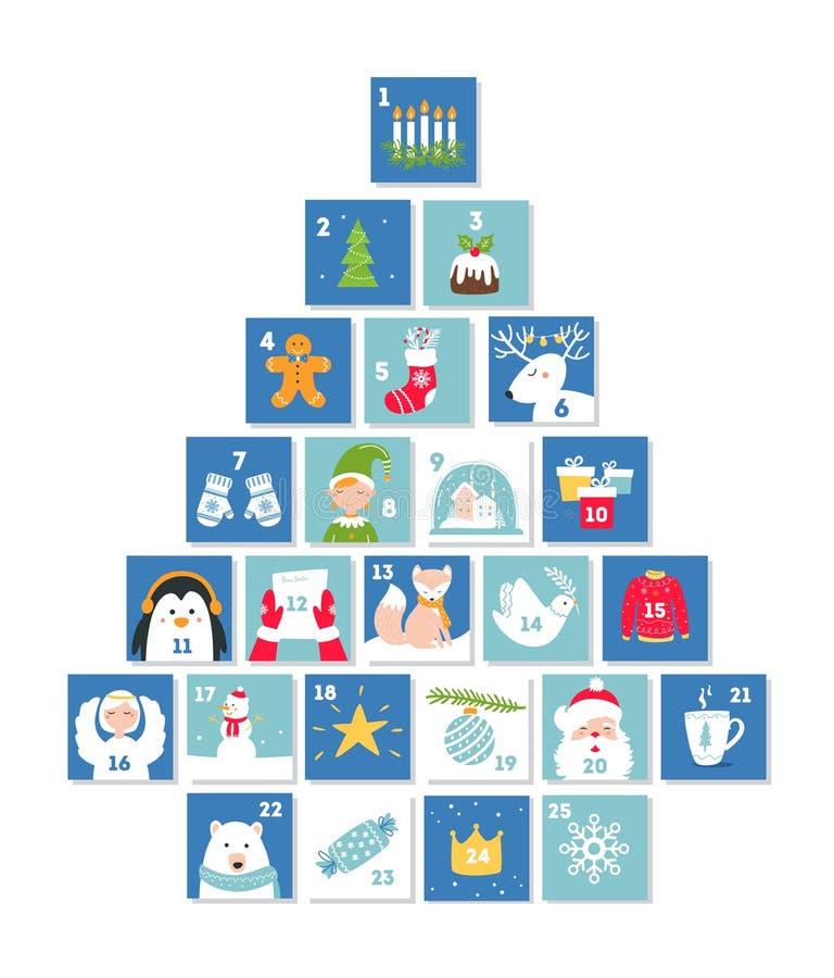 Natale e simboli di celebrazione del nuovo anno Advent Calendar o carte Forma dell'albero di Natale Insieme di vettore illustrazione di stock