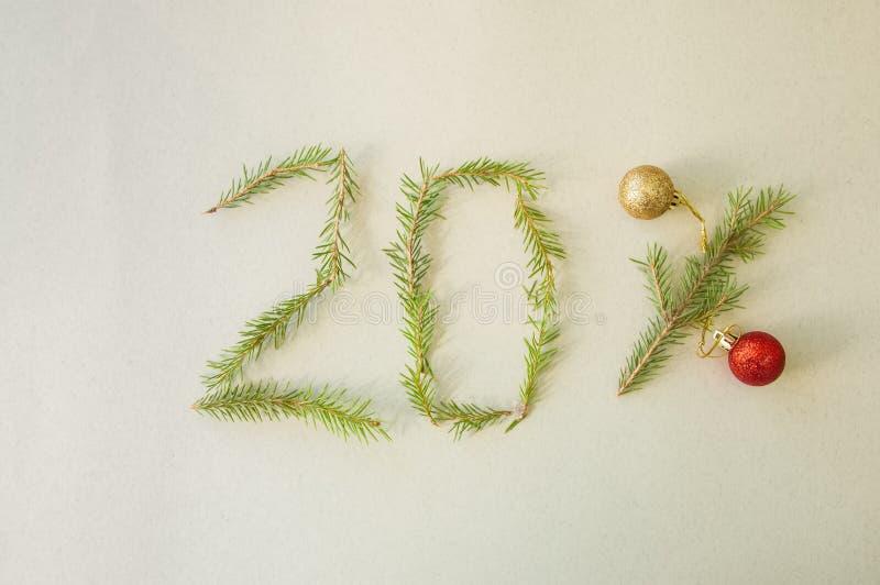 Natale e speciale 20% del nuovo anno fuori dalla vendita di promozione di sconto fotografie stock
