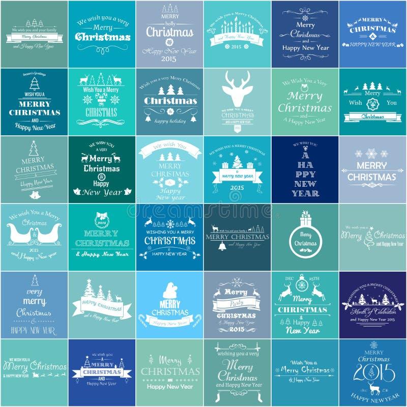 Natale ed etichette d'annata ed emblemi del nuovo anno messi illustrazione di stock