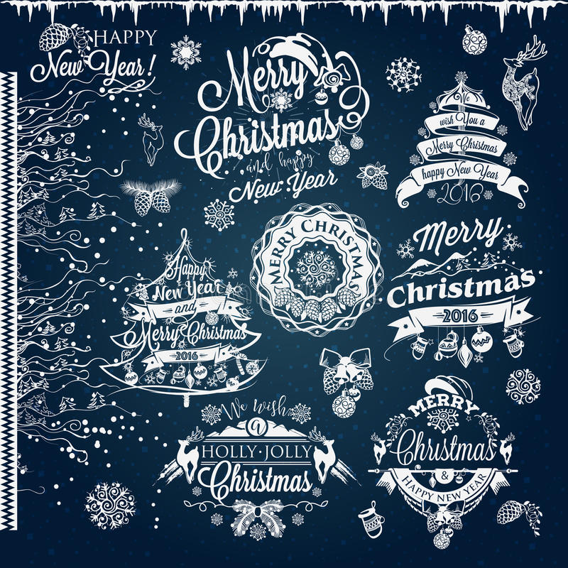 Natale ed etichette e confini del nuovo anno royalty illustrazione gratis