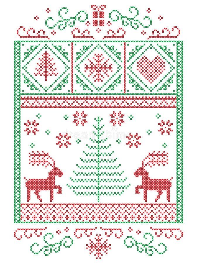 Natale elegante scandinavo, inverno nordico di stile cucente, modello compreso i fiocchi di neve, cuori, presente, stella, albero royalty illustrazione gratis