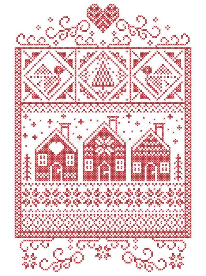 Natale elegante scandinavo, inverno nordico di stile cucente, modello compreso il fiocco di neve, cuore, casa di pan di zenzero s illustrazione di stock