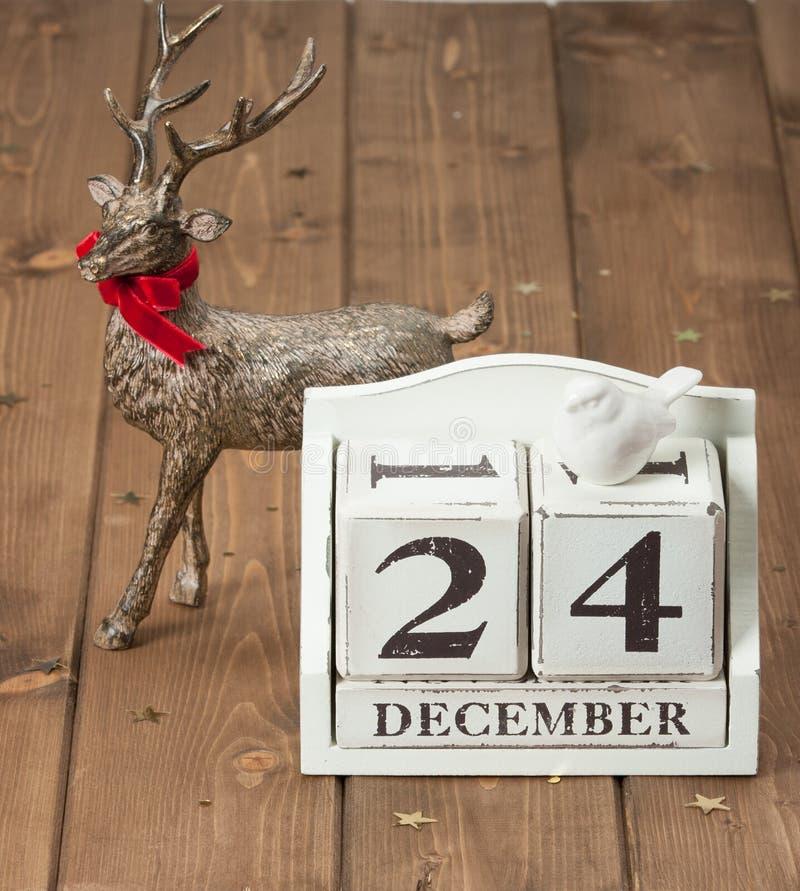 Natale Eve Date On Calendar 24 dicembre fotografie stock libere da diritti
