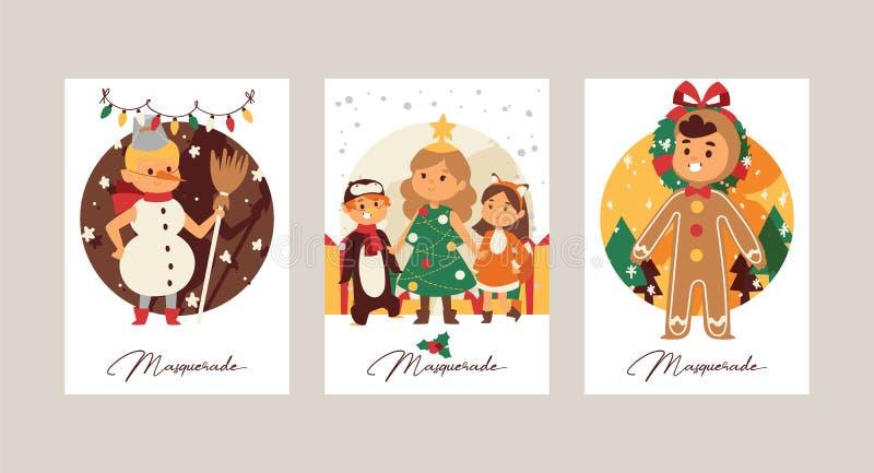 Natale natale felice di inverno di 2019 del buon anno della cartolina d'auguri dei bambini dei bambini del costume del fondo fest illustrazione vettoriale