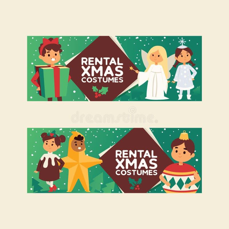 Natale natale felice di inverno di 2019 del buon anno della cartolina d'auguri dei bambini dei bambini del costume del fondo fest illustrazione di stock