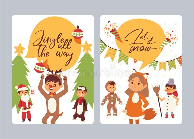 Natale natale felice di inverno di 2019 del buon anno della cartolina d'auguri dei bambini dei bambini del costume di vettore del royalty illustrazione gratis