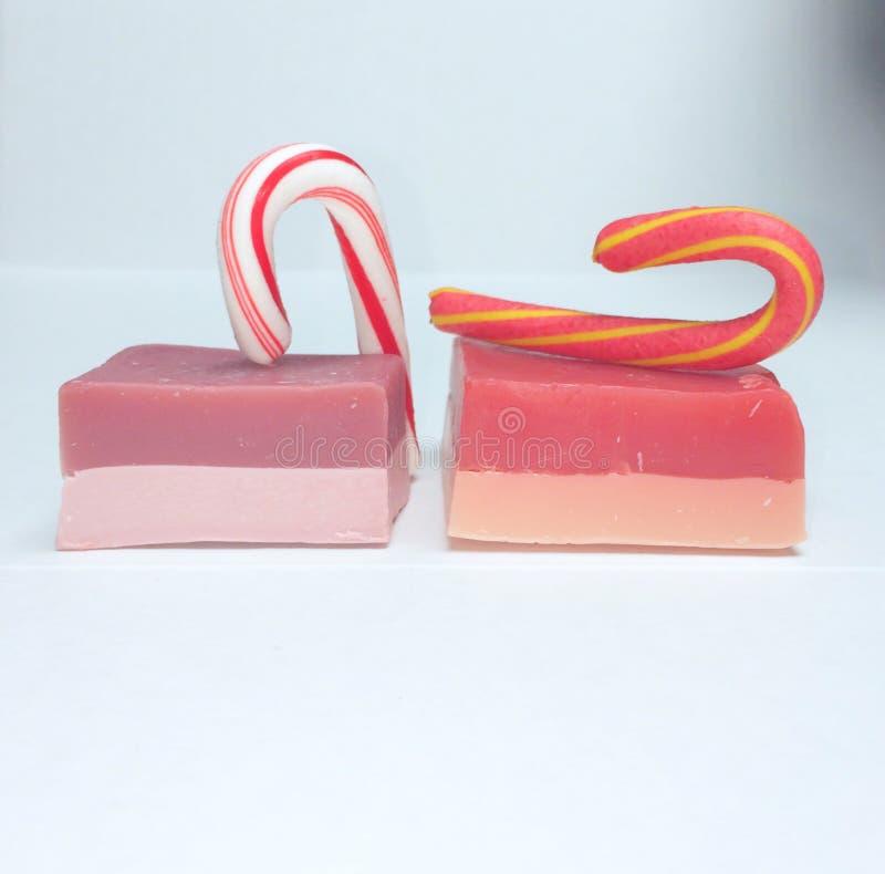 Natale fertile del sapone del bastoncino di zucchero dei cosmetici immagini stock
