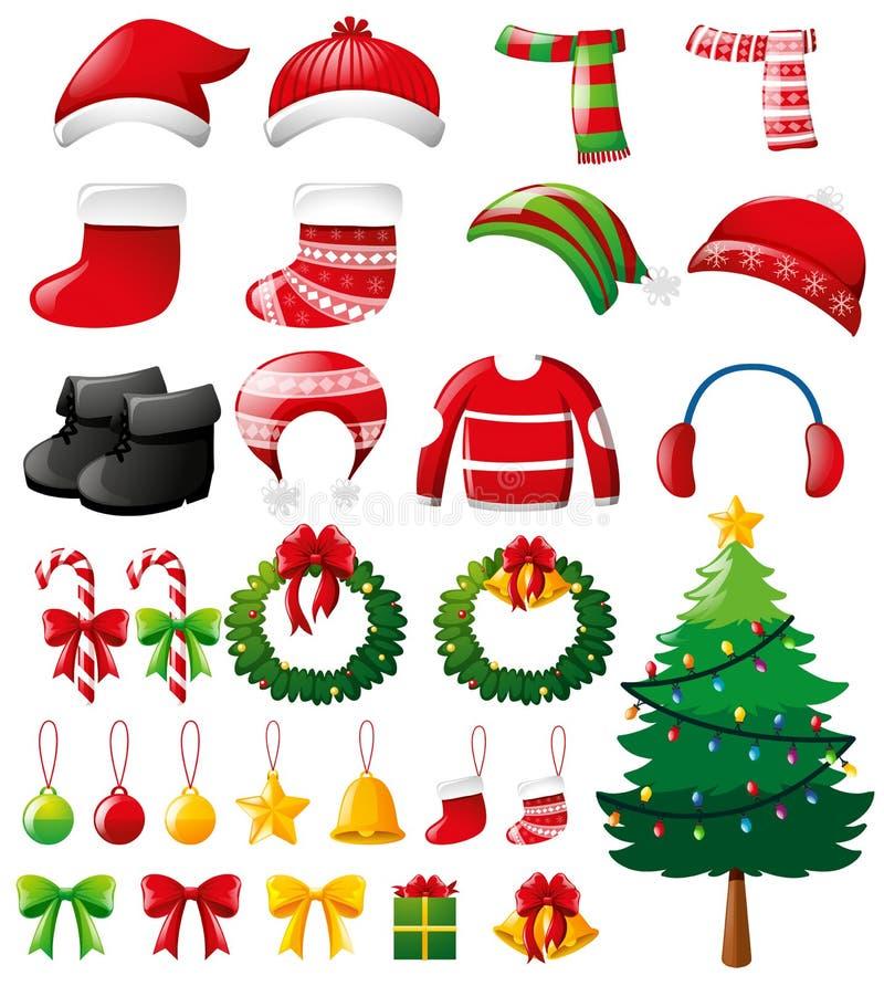 Natale fissato con gli ornamenti ed i vestiti illustrazione vettoriale