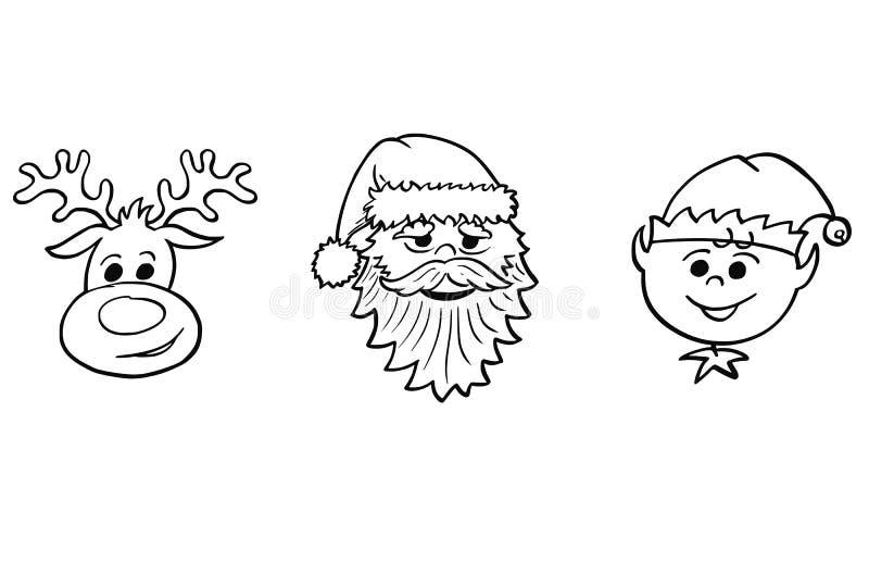 Natale fissato di Santa Claus, di Elf e di Rudolf la renna Portra illustrazione vettoriale