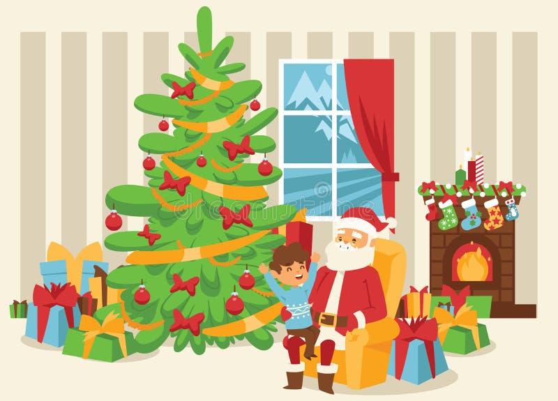 Natale fumetto di natale di inverno di 2019 del buon anno della cartolina d'auguri di Santa Claus di vettore del fondo feste dell illustrazione vettoriale