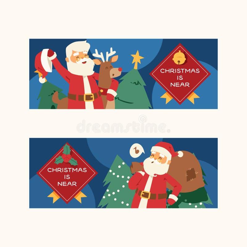 Natale fumetto di natale di inverno di 2019 del buon anno della cartolina d'auguri di Santa Claus di vettore del fondo feste dell illustrazione di stock