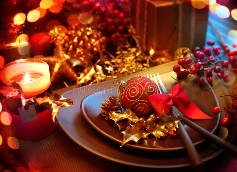 Natale Holliday Table Setting fotografie stock libere da diritti