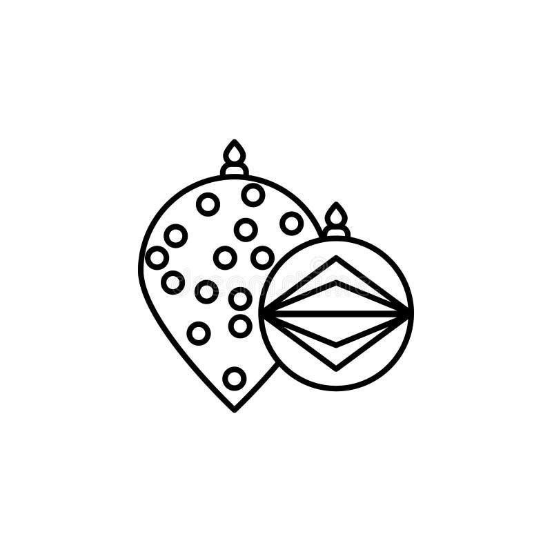 Natale, icona del profilo dei giocattoli Elemento dell'illustrazione del nuovo anno Icona premio del profilo di progettazione gra illustrazione di stock