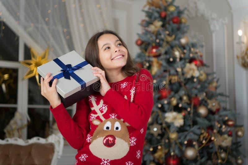 Natale Il bambino gode della festa La mattina prima di natale Festa di nuovo anno Nuovo anno felice simili della ragazza del picc immagini stock libere da diritti