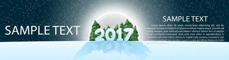 Natale, insegna 2017, panoramma Illustrazione di vettore con gli elementi di disegno Luce della luna La notte il cielo stellato fotografia stock