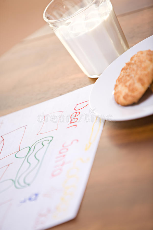 Natale: Lettera a Santa With Cookies fotografia stock