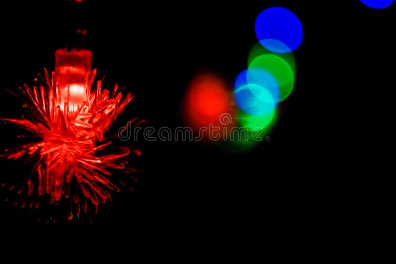 Natale a lungo delle luci intermittenti, decorazioni 06 del nuovo anno fotografia stock