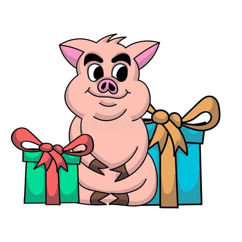 Natale maiale e regali Nuovo anno felice Maiale festivo del fumetto fotografia stock libera da diritti