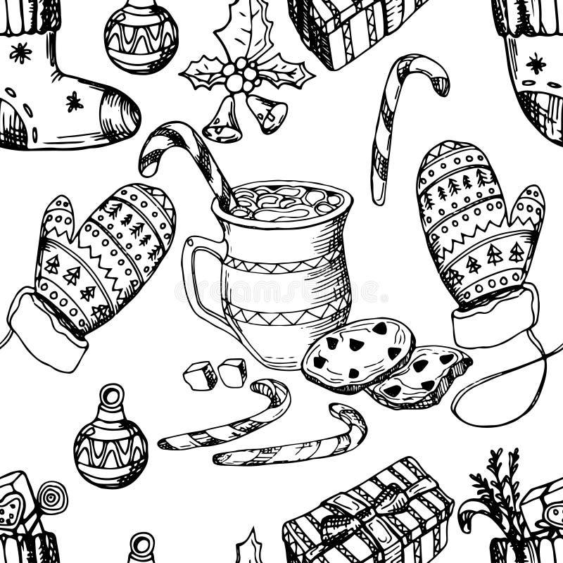 Natale modello senza cuciture, struttura, illustrazione di schizzo del disegno della mano Vector la raccolta dell'oggetto di schi fotografia stock