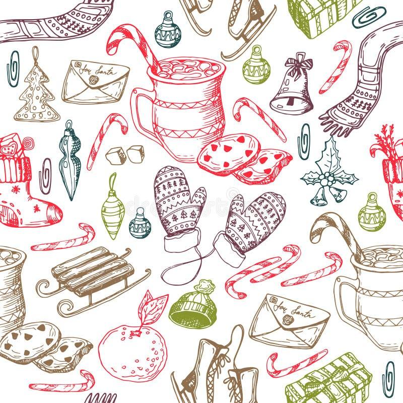 Natale modello senza cuciture, struttura, illustrazione di schizzo del disegno della mano Vector la raccolta dell'oggetto di schi immagini stock libere da diritti
