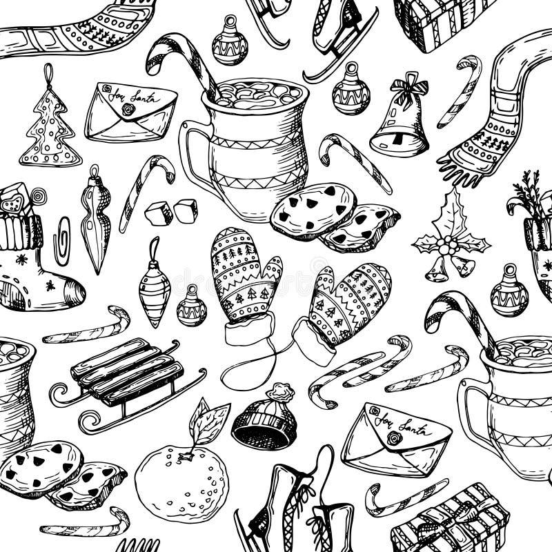 Natale modello senza cuciture, struttura, illustrazione di schizzo del disegno della mano Vector la raccolta dell'oggetto di schi fotografie stock