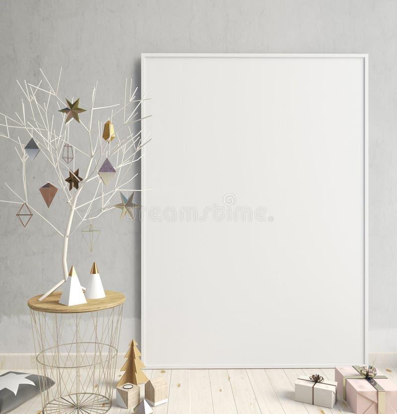 Natale moderno interno, stile scandinavo illustrazione 3D illustrazione di stock