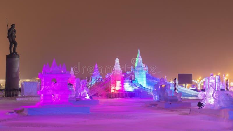 Natale a Mosca città del ghiaccio in Victory Park immagine stock libera da diritti