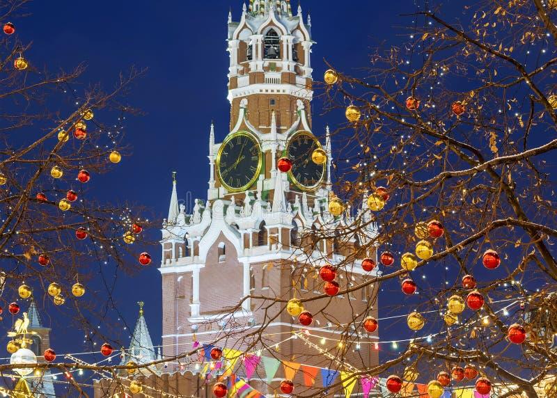 Natale a Mosca Il ` s del nuovo anno ha decorato il quadrato rosso immagine stock