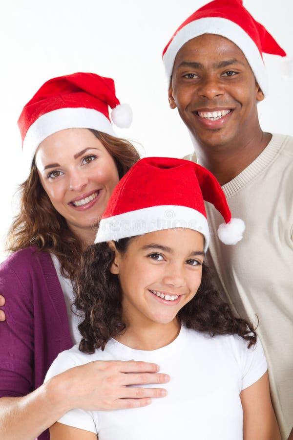 Natale Multiracial della famiglia fotografia stock libera da diritti