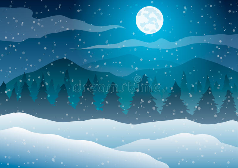 Natale Paesaggio di inverno di notte Alberi contro un fondo blu di neve, della luna e delle montagne di caduta illustrazione vettoriale
