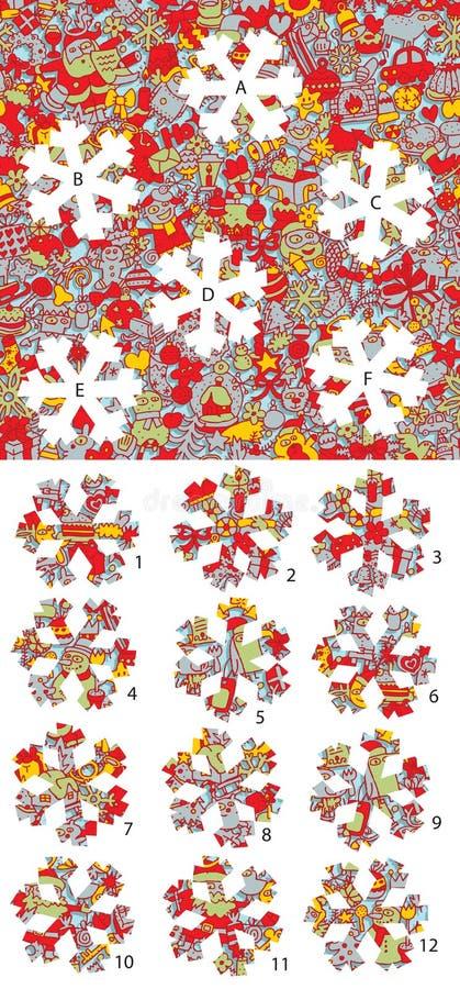Natale: Pezzi della partita, gioco visivo Soluzione nello strato nascosto! royalty illustrazione gratis